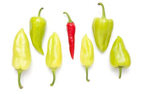 Sweet, green, spicy, red pepper.