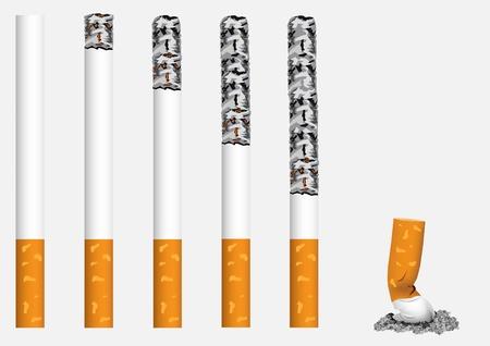 smoldering: Fumante, esposto in una fila, le sigarette.