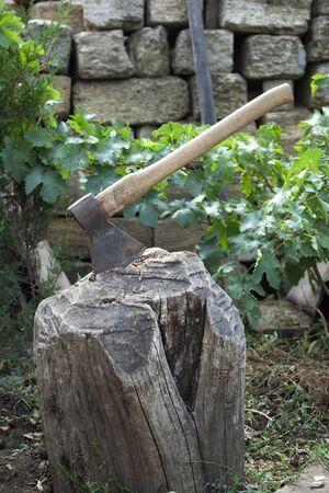 Ax stuck in a tree stump