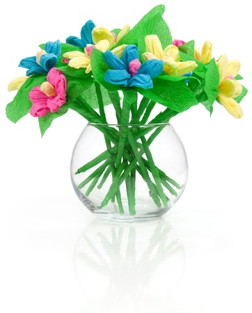 Flowers made of colored paper Stock Photo