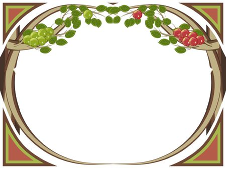 Framework with apple-trees both green and red apples