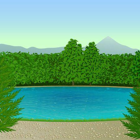 The stylized landscape with blue mountain lake   Illustration