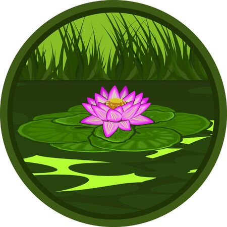 The stylized image of a pink lotus in marsh water Illustration