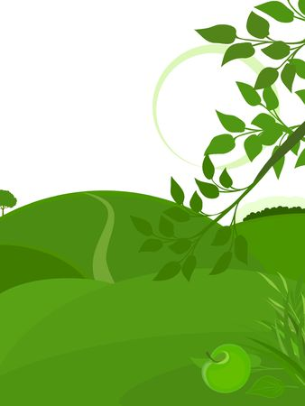 Green background with the stylized landscape