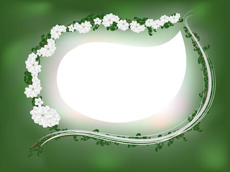 Green framework with a branch of a blossoming apple-tree Illustration