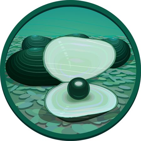 Fantasy black pearl in an empty bowl at the bottom of the sea