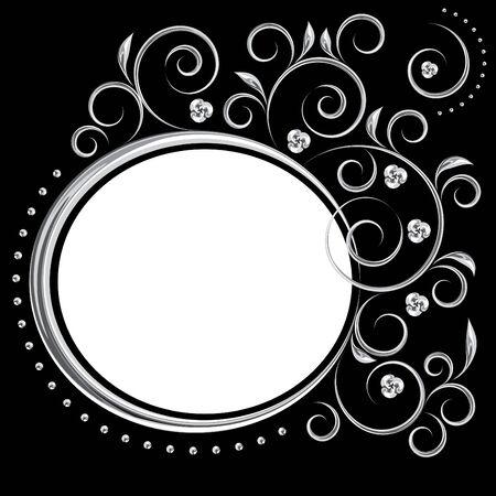 Floral framework with chrome imitation on a black background Illustration