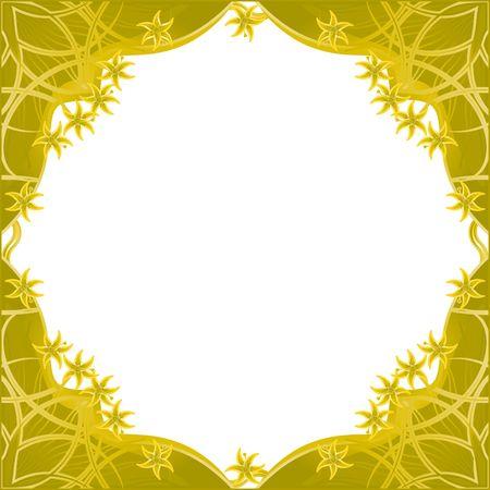 Golden framework with fantasy flowers Illustration