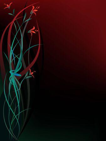 Dark background with fantasy red flowers