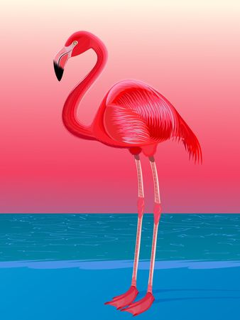 Red flamingo against the stylized sea landscape