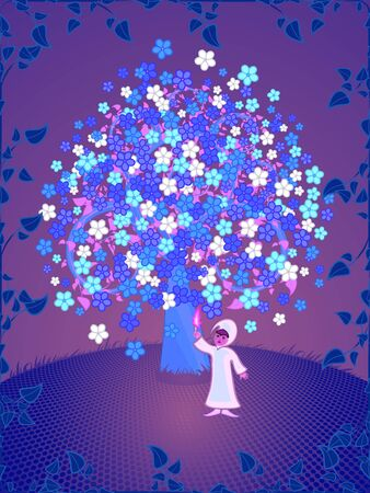 A fantasy tree and the child personifying spirit of dreams