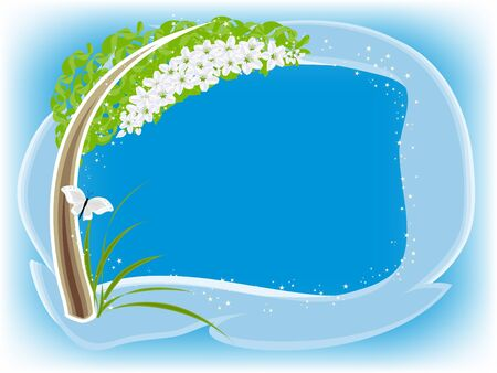 Gentle framework with the stylized blossoming apple-tree Stock Photo