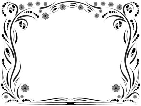 Black and white floral framework with siylized bumblebees and flowers Stock Vector - 7257683