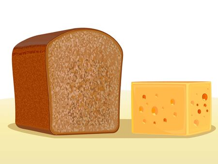 Bread and cheese on a light background