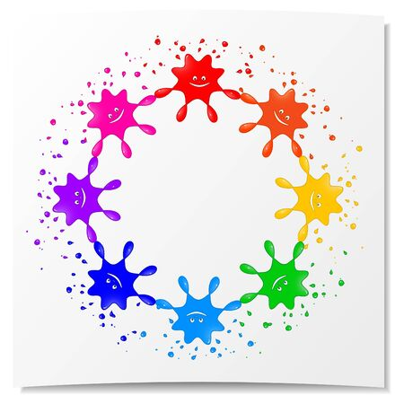 Framework from eight stylized blots of different color
