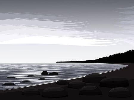 The stylized landscape with northern lake Illustration
