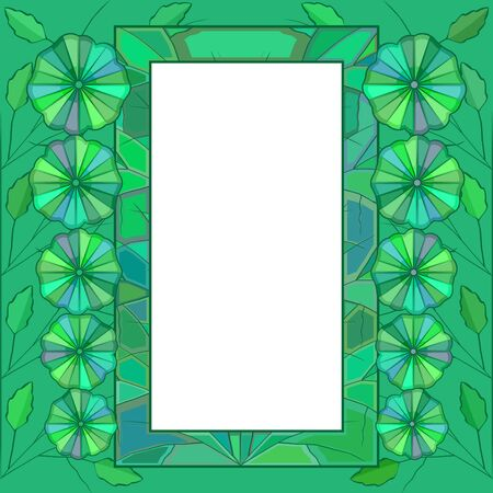 Green framework with abstract flowers