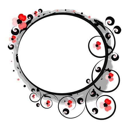 Framework with stylized red flowers on a white background Illustration