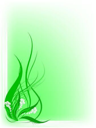 Gentle green background with fantasy white flowers