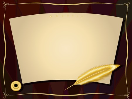 Framework with a sheet of paper, a gold feather, an inkwell and a gold decor Illustration