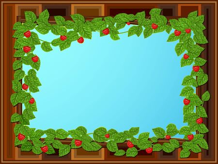 Framework in the form of a window decorated by branches of a raspberry Illustration