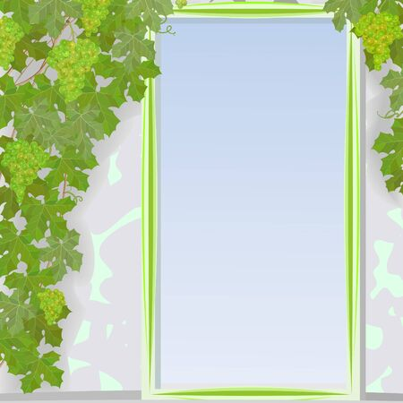 Gentle framework with the stylized heavenly door and rods of green grapes