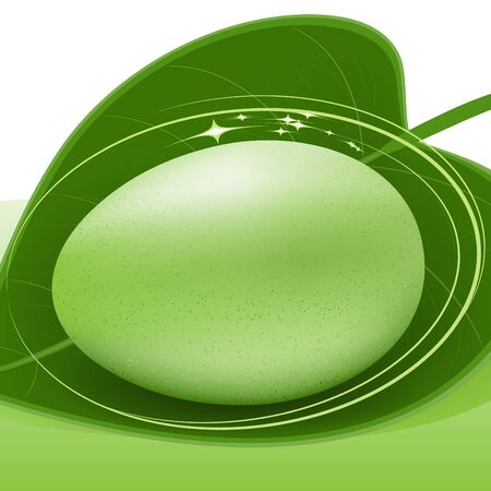 Green egg on green leaf