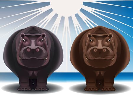 Grey and chocolate hippopotamuses against the stylized landscape