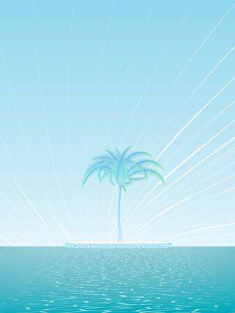 Fantasy ocean island with a lonely palm tree