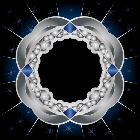 Decorative framework with a metal and sapphire gradient Illustration