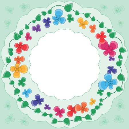 Light green framework with the stylized multicolored flowers