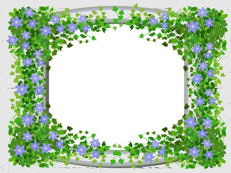 The stylized window of an old fortress framed with branches of clematis Illustration
