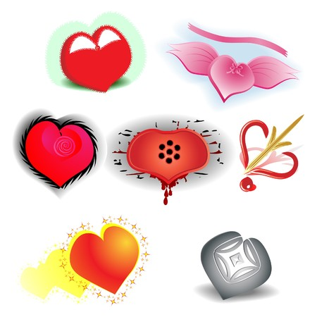 firmness: Set from seven stylized hearts Illustration