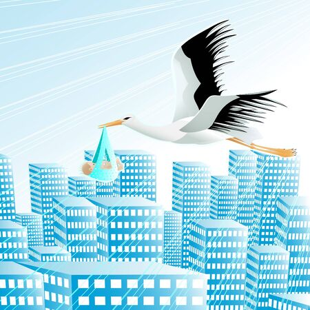 Stork with the human baby over a modern city