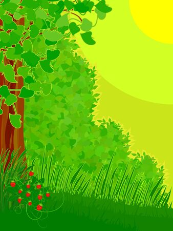 The stylized landscape with a wild strawberry bush on a wood glade Illustration