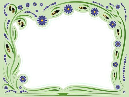 Floral framework with stylized bubmlebees and flowers