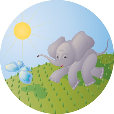 The stylized image of the elephant calf chasing the butterfly on a green meadow Illustration