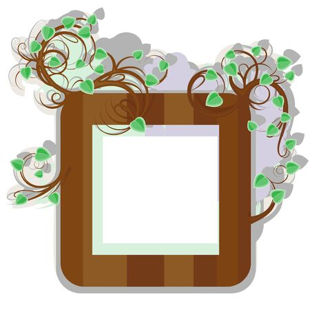 The stylized wooden framework with young branches and leaves