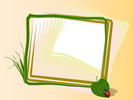 Light framework with a leaf, dew and a ladybird