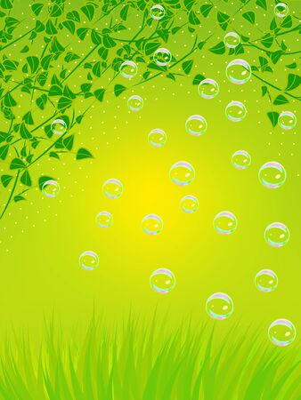 Floral background with green branches, grass and soap bubbles Illustration