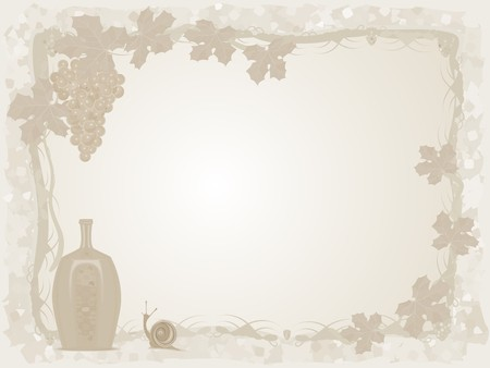 Vintage a background with wine, grapes and a snail Vector