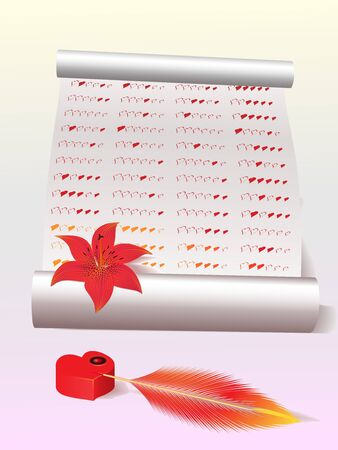 Romantic background with a sheet of paper, a feather, an inkwell in the form of heart and a red lily