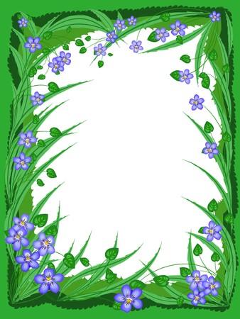 violets: Floral background framed with wood violets Illustration
