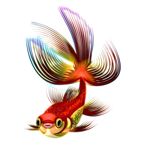 Raster illustration of a gold and multicolored small fish Stock Photo