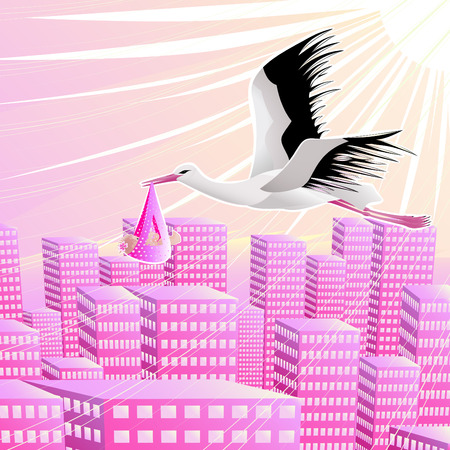 Stork with the baby girl over a modern city Illustration