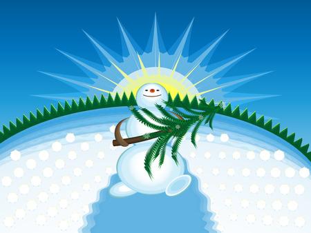The joyful snowman bearing from wood a fir-tree