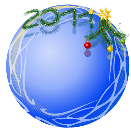 New Years framework in the form of a blue ball with a decor from fir-tree branches