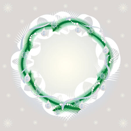 Gentle framework with the stylized decorated fir-tree wreath and snowflakes