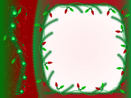 Green and red New Years framework with garlands and balls Illustration