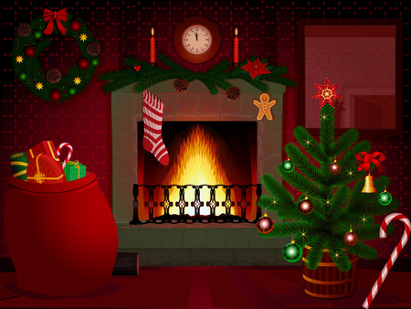 Green and red Christmas collection in an interior Vector